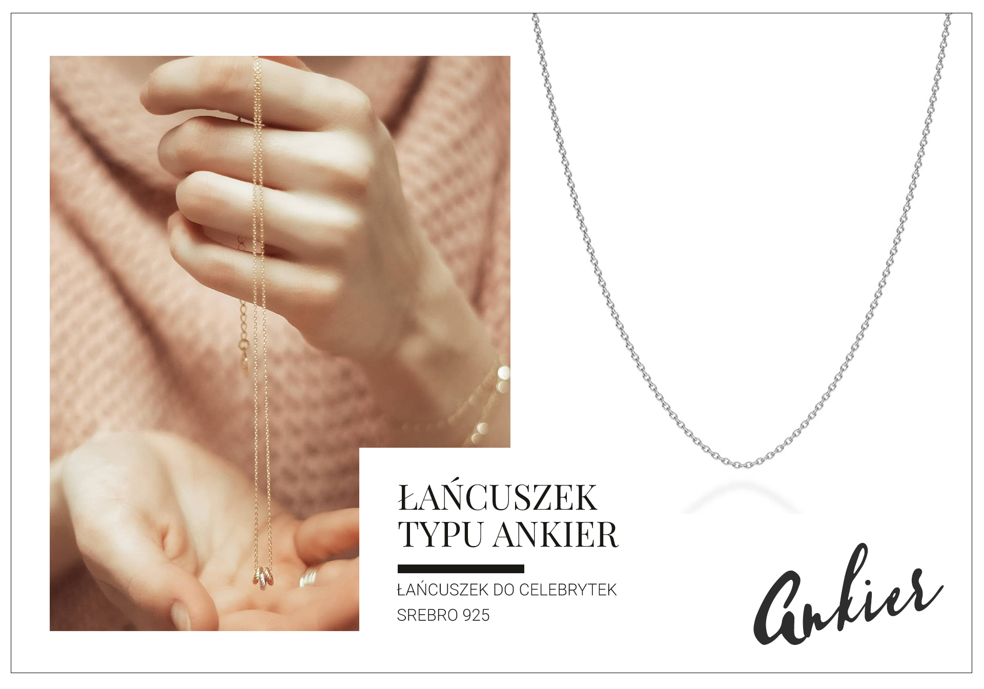 srebrny łańcuszek ankier/anker