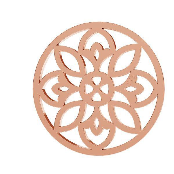 Rozeta ażurowa zawieszka blaszka ze srebra 925, LKM-2039 złocenie różowe 18K