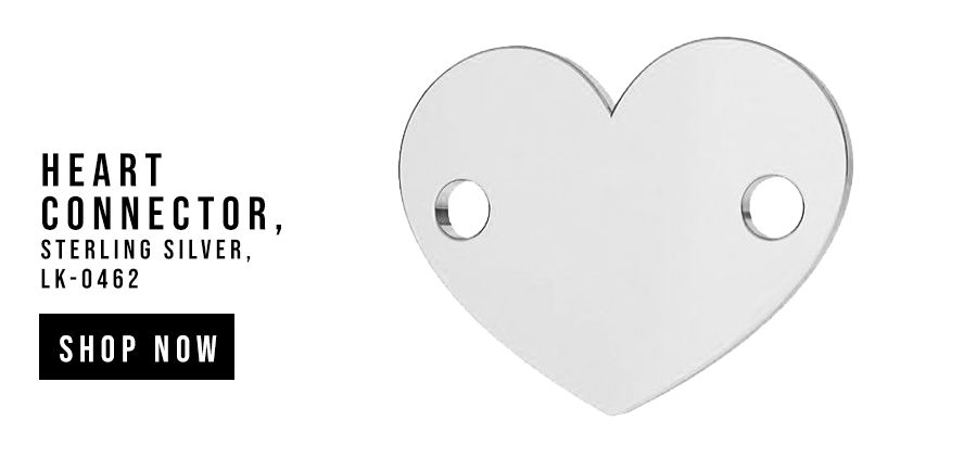 Heart pendant connector tag, sterling silver, LKM-2006