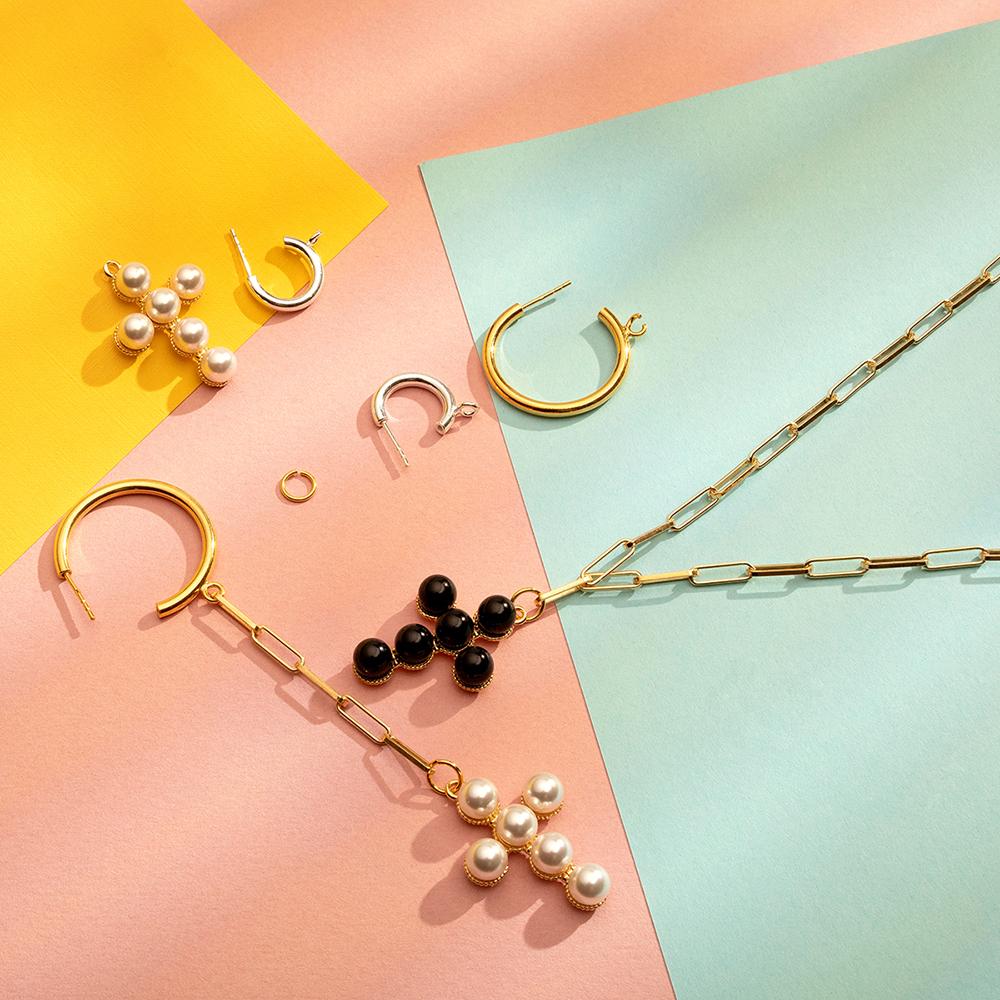 cross chain earring